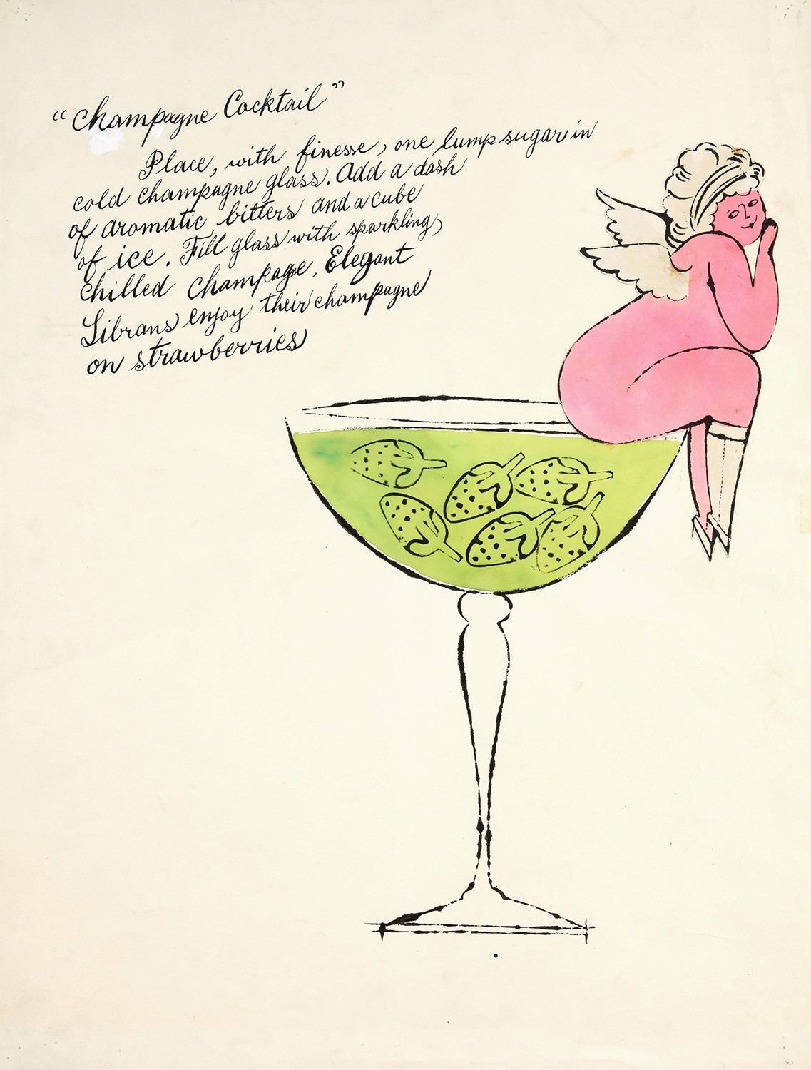 A pink cherub sits on the edge of a cocktail glass filled with green liquid and strawberries. In the top left corner, a cocktail recipe is written in old-fashioned handwriting.