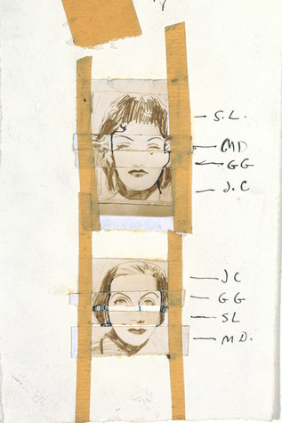 A page from a sketchbook in which two small portraits have been taped. Features of the woman in each of the portraits have been labeled with initials.