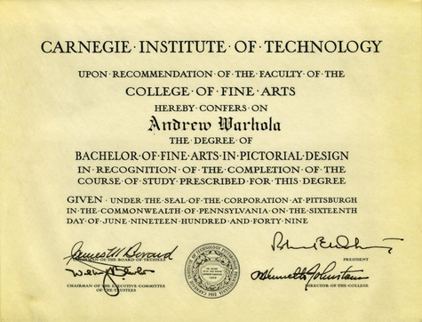 A diploma from the Carnegie Institute for Arts in Pictoral Design awarded to Andrew Warhola.