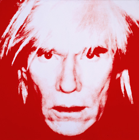 Screen print of a man's face with messy blonde hair in white on a red background.