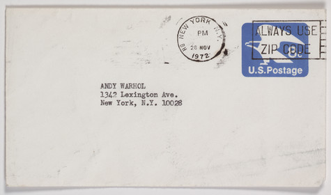 A white envelope addressed to Andy Warhol's home address, postmarked November 26, 1972.