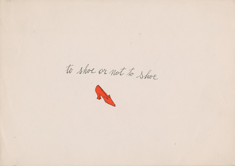 """A blotted-line lithograph print of a small red high heeled shoe. The phrase """"To Shoe or Not to Shoe is written in cursive under the shoe."""