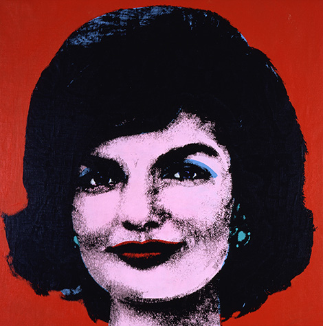 A screenprint of a person's face closeup on a red background.