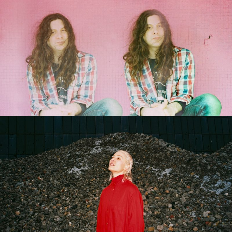 The top photo is of two photos of the same person with long, brown hair, wearing a flannel shirt and jeans, sitting against a pink wall. The bottom photo is a person with blond hair wearing a red shirt standing in front of a black wall with a large mound of rocks in front of it.