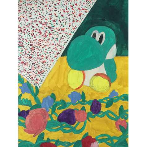 A colorful artwork of a stuffed animal and other objects