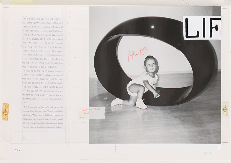 Life magazine article with baby crawling across floor.